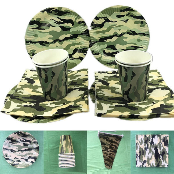 Army Green Baby Shower Party Decorations Camouflage Theme Tableware Plate Napkins Banners Paper Cup Wish