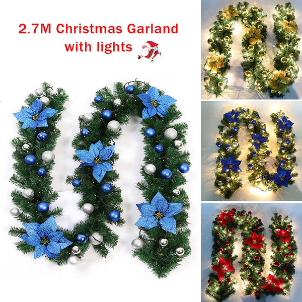 LED Lights Wired Swag Pine Ornaments 9FT Christmas Garland Decorated Garland