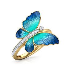 butterfly, Women, butterflyring, 18k gold
