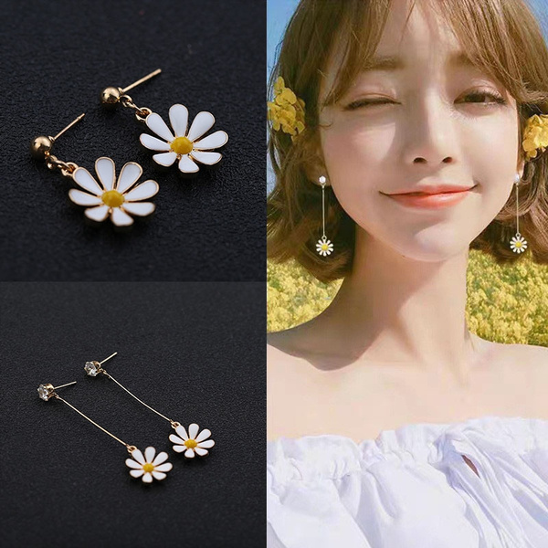 daisyearring, koreanstyleearring, Tassels, Flowers