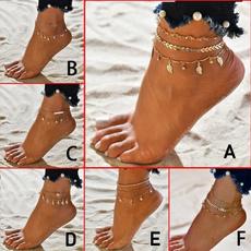summeranklet, Jewelry, ankletsampbracelet, gold