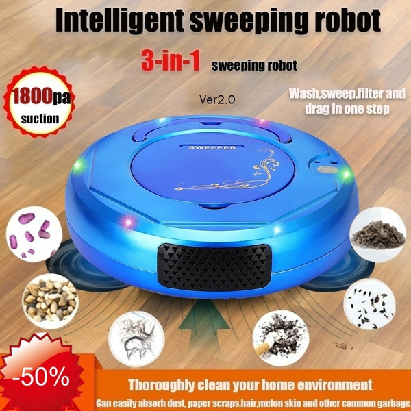 3 IN 1 Rechargeable Smart Robot Vacuum Cleaner Auto Sweeper Floor Clean Machine