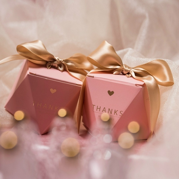 20 50 100pcs Wedding Favor Sweet Gift Bags Pink Candy Boxes Baby Shower Birthday Guests Party Supplies Wish