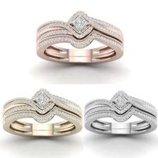 Engagement Wedding Ring Set, Rose, gold, Women's Fashion
