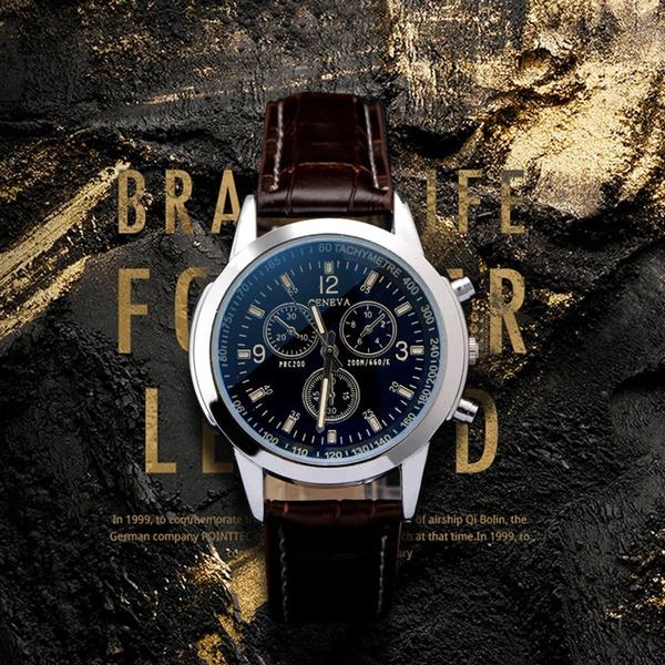 quartz, Casual, business watch, leather strap