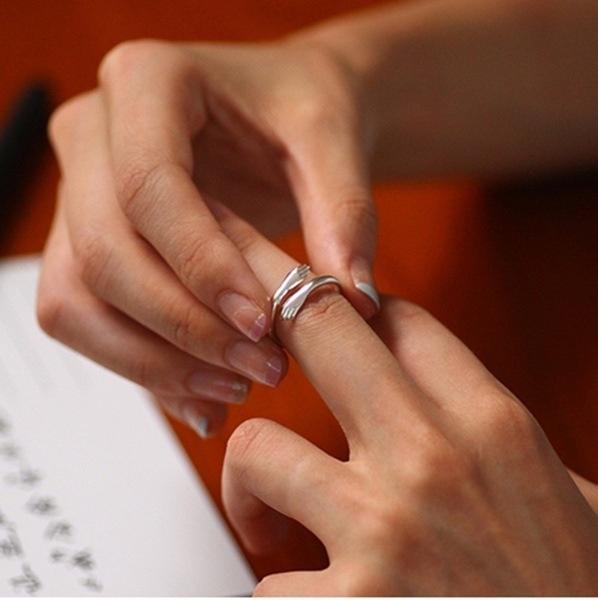 hug, creativering, 925 silver rings, Silver Ring