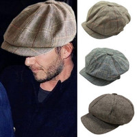 Mens Plain 8 Panel Newsboy Cap Peaky Blinders Baker Boy 100/% Wool CHEAP PRICE