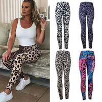 Women Leopard Cheetah Print Pocket High Waist Casual Yoga Pants Tights YunZyun High Waist Yoga Pants for Women Athletic Workout Brown, L