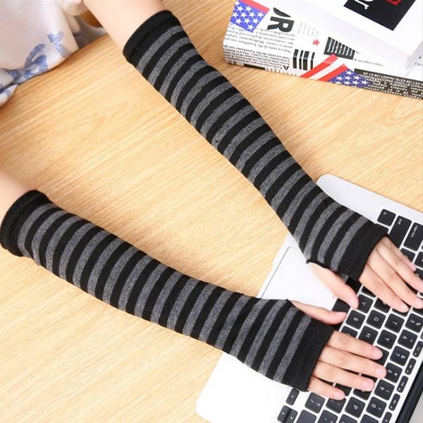 Women Winter Wrist Arm Warmer Knitted Long Fingerless Gloves Mitten