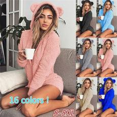 hoodedsuit, women's pajamas, hooded, Winter