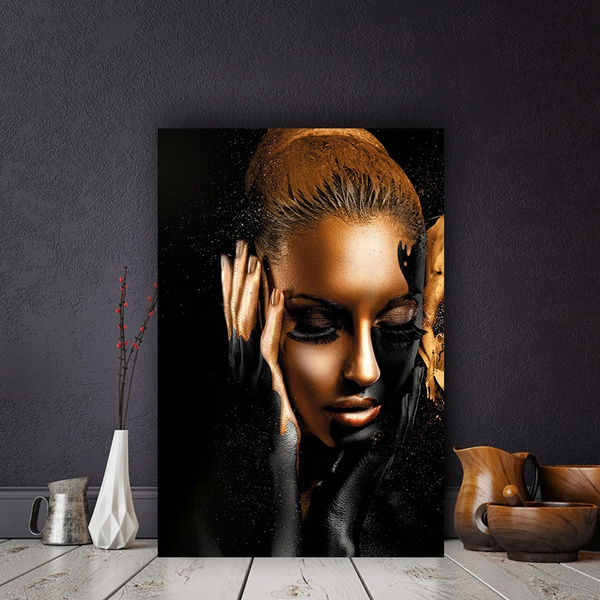 Black and Gold Nude African Woman Oil Painting on Canvas Cuadros Posters and Pri