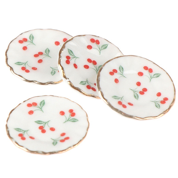 Plates, Kitchen & Dining, 4 PC, Cherry