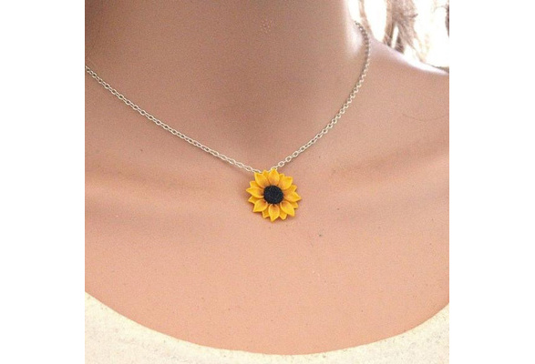 Mom Gift for Daughter Gift for Sister Unusual Gift Ideas Sunflower Necklace Yellow Real Flower Best Friend Necklace Gift 2543 BFF Gift
