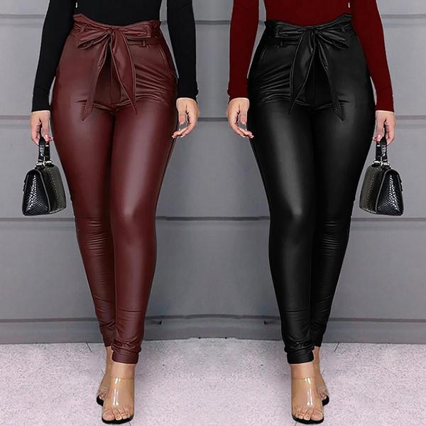 Fashion, skinny pants, Casual pants, PU Leather
