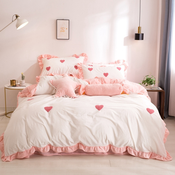 Pink And White Crystal Velvet Bedding Heart Shaped Pattern 100 Cotton Princess Ruffle Girls Duvet Cover Set Bed Sheet Set 4pcs Queen King Size Quilt Cover Pillow Case Villa Set Wish