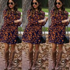 Slimwaist, cute, Fashion, sleeve dress