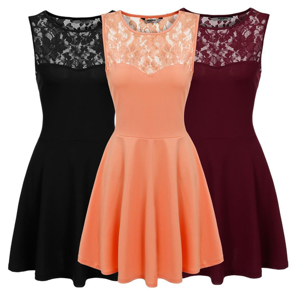 Sleeveless dress, pleated dress, Lace, Cocktail