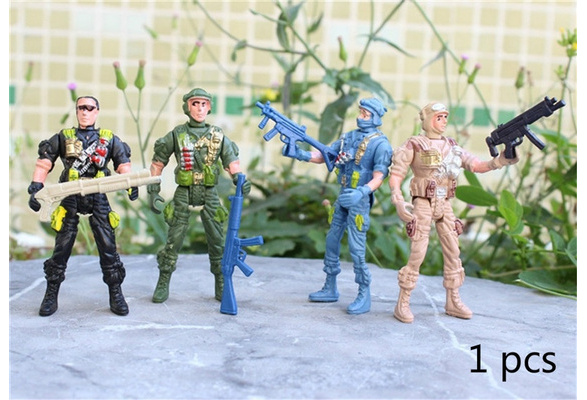 Military Playset Special Force Action Figures Kids Toys Plastic 9cm Soldier RI
