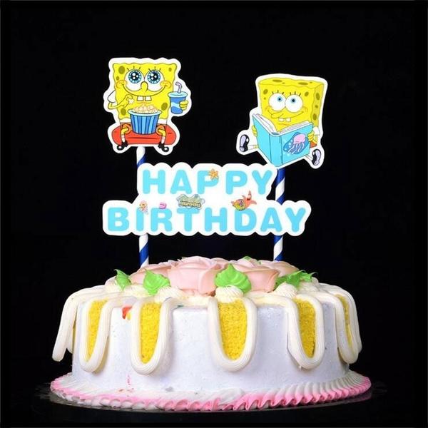 birthdaycake, Baking, Sponge Bob, caketopper