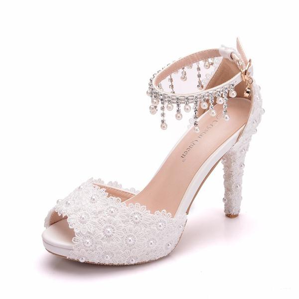 White Lace Wedding Sandals Peep Toe
