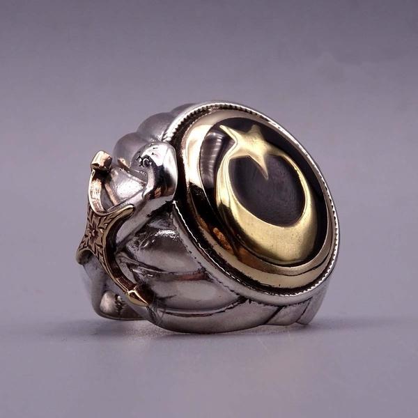 Sterling, Steel, wedding ring, 925 silver rings