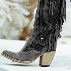 tallboot, Tassels, Womens Boots, thickheel