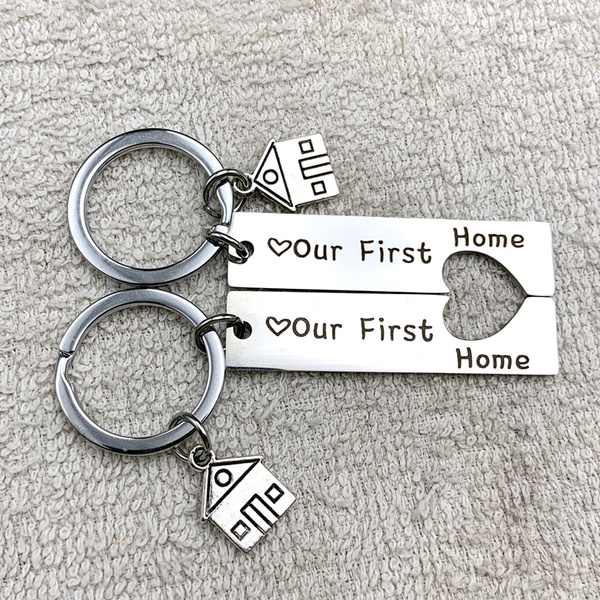 Sterling Silver Home Sweet Home Key Ring  New Home Gift  Realtor Closing Gift  First Home  House Warming Gift  Wedding Gift
