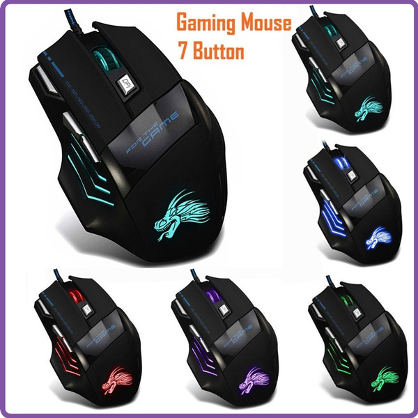 BINGFEI Professional USB Wired Optical Gaming Mouse Adjustable 5 Levels DPI 5500 with 6 Buttons LED Light for Desktop PC Laptop Gamer,Black