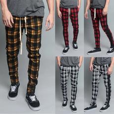 drawstringpant, checkered, skinny pants, Casual pants