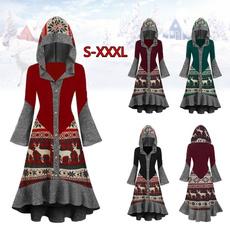 christmasdressesforwomen, hooded, ruffle, Christmas