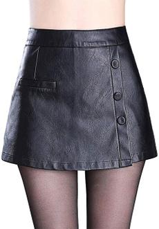 womenleathershort, Mini, Shorts, womenfauxleatherskirt