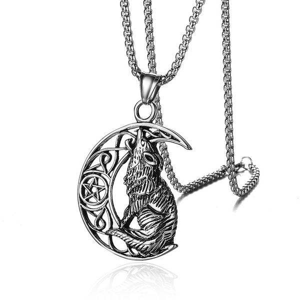 Steel, crescentnecklace, titanium steel necklace, Jewelry