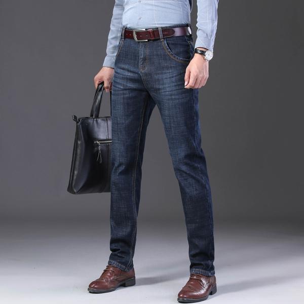 Otono Invierno Para Hombre Pantalones Vaqueros Rectos Informales Moda Pantalones De Mezclilla Pantalon Masculino Azul Y Azul Oscuro Mas Grande Tamano 29 44 Wish