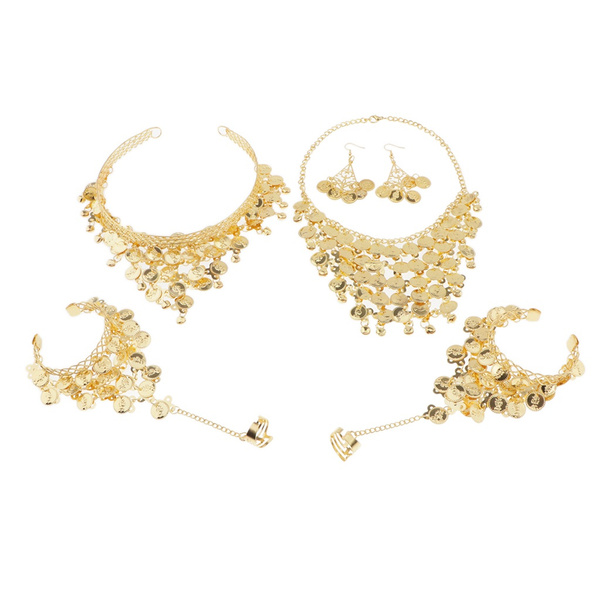 4x Belly Dance Jewelry Set Coin Necklace Bracelets Womens Gypsy Thai Costume