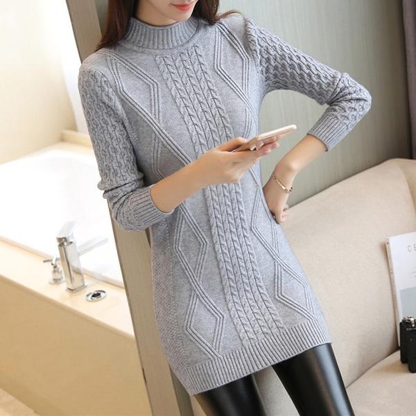 Plus Size, slim, tunic, long sleeve sweater