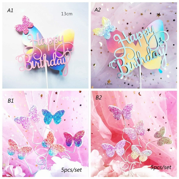 Bling Colourful Laser Butterfly Happy Birthday Cake Topper Wedding Bride Dessert Party Valentine S Day Decoration Wish