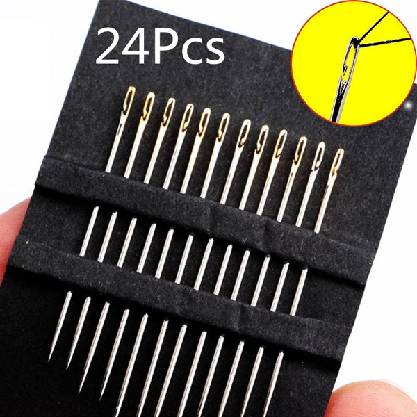 24Pcs//Set Portable Stainless Steel Self-threading Needles-Opening-Sewing Darning