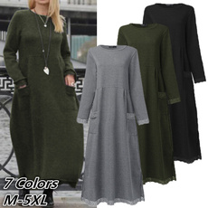Fleece, Plus Size, Autumn Dress, Sleeve