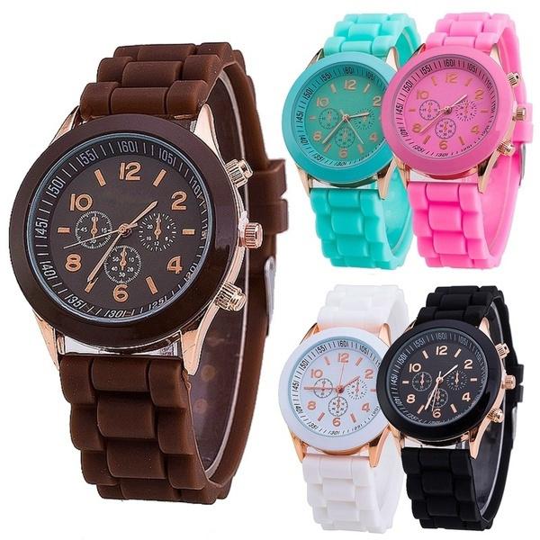 quartz, Casual Watches, Geneva, leather
