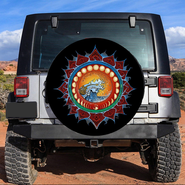 RWNFA Indian Moon and Sun Car Tire Cover Universal Spare Wheel Tire Cover Wheel Covers for Travel Trailer RV SUV,Camper Accessories and Various Vehicles 14 15 16 17 Inch