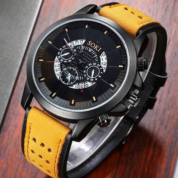 Fashion, leather strap, Simple, Round Watch