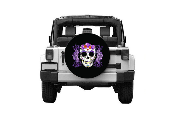 Spare Tire Cover ANY Size Flower Sugar Skull ANY Vehicle,Trailer purple RV