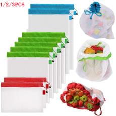 washablegrocerymeshbag, Drawstring Bags, reusableproducebag, Storage