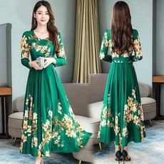 Plus Size, print dress, Sleeve, Long Sleeve