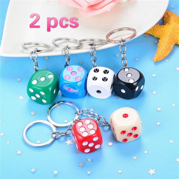 cute, keychainskeyring, Key Chain, Dice