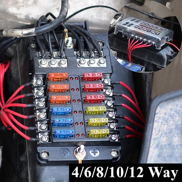 universal fuse box 4/6/8/10/12 way circuit standard blade fuse holder for  car bus yacht ship vehicle   wish  wish
