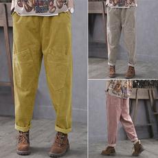 Women Pants, elastic waist, slack, corduroypant