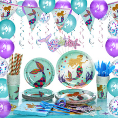 party, Tableware, swimming mermaid tail, Party Supplies