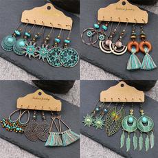 ethnicearring, Tassels, bohojewelry, leaf
