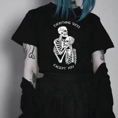 black, Fashion, Cotton T Shirt, skull